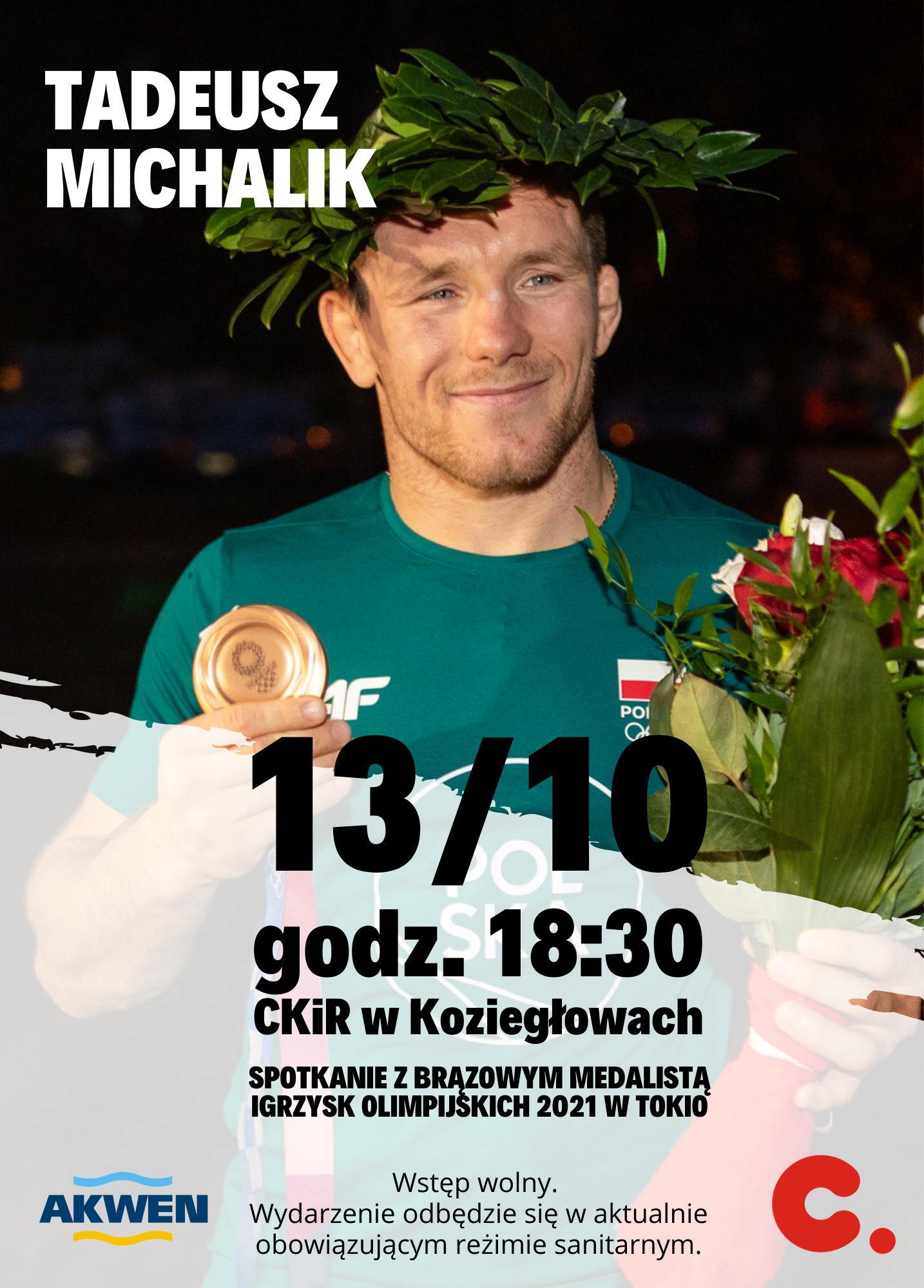 plakat z Tadeuszem Michalikiem będący ilustracją wpisu. Data, godzina i miejsce spotkania.